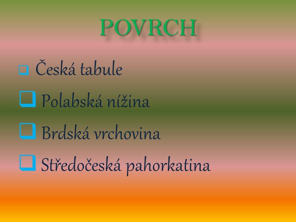 POVRCHPOVRCH  Česká tabule  Polabská nížina  Brdská vrchovina  Středočeská pahorkatina
