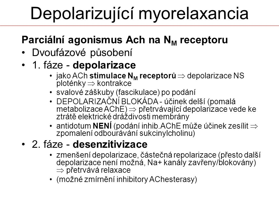 Parciální agonismus Ach na N M receptoru Dvoufázové působení 1. fáze - depolarizace jako ACh stimulace N M receptorů  depolarizace NS ploténky  kont
