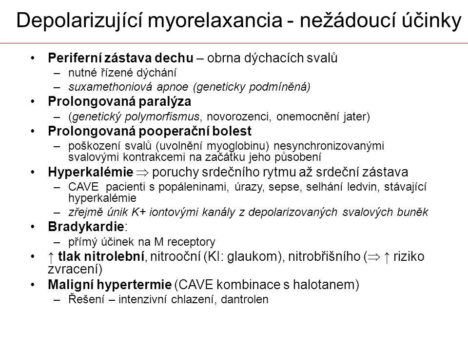 Depolarizující myorelaxancia - nežádoucí účinky Periferní zástava dechu – obrna dýchacích svalů –nutné řízené dýchání –suxamethoniová apnoe (geneticky
