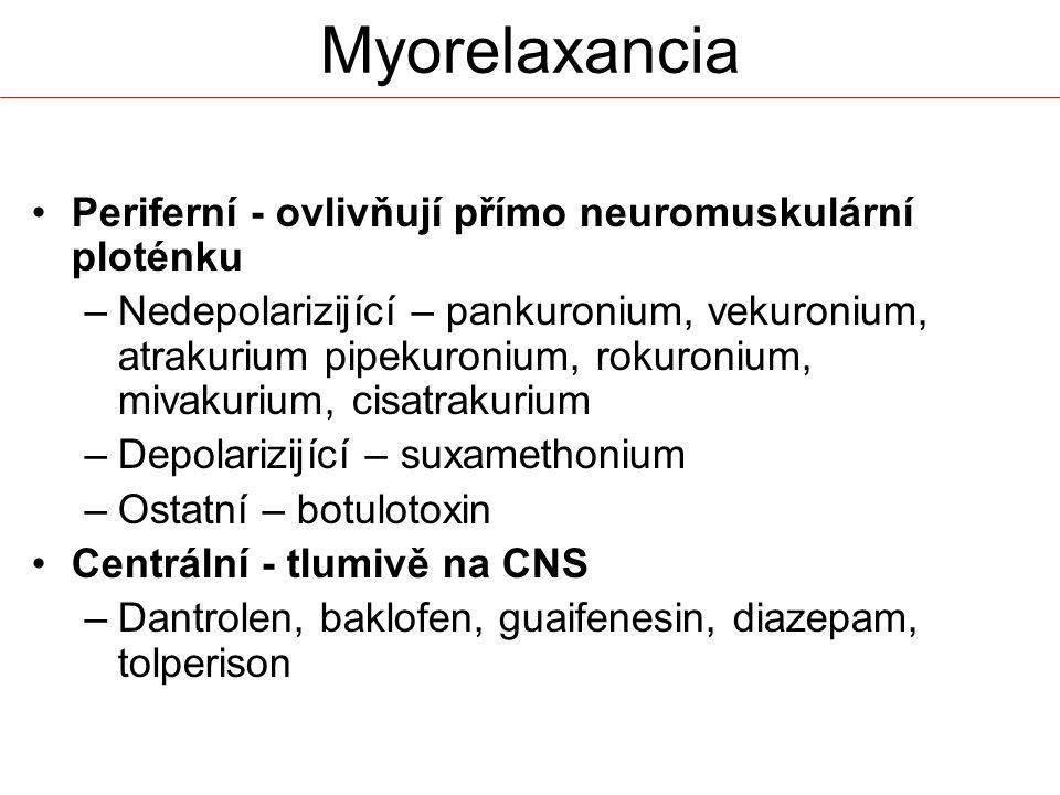 Periferní - ovlivňují přímo neuromuskulární ploténku –Nedepolarizijící – pankuronium, vekuronium, atrakurium pipekuronium, rokuronium, mivakurium, cis