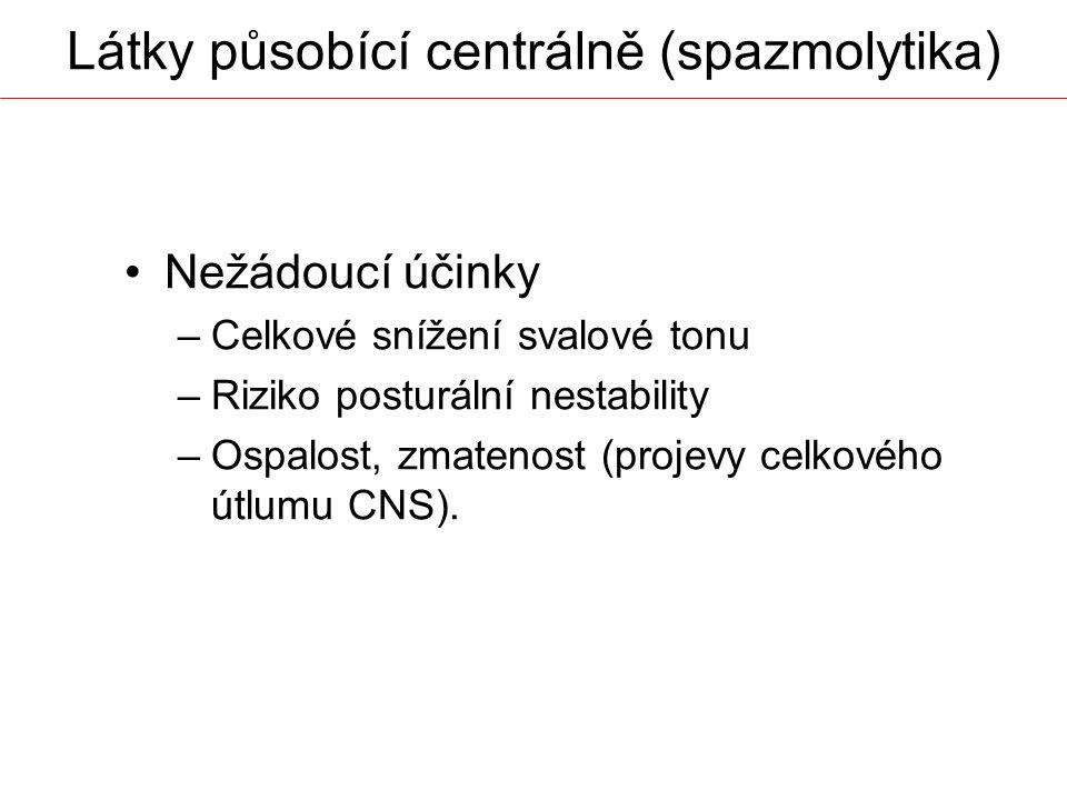 Nežádoucí účinky –Celkové snížení svalové tonu –Riziko posturální nestability –Ospalost, zmatenost (projevy celkového útlumu CNS). Látky působící cent