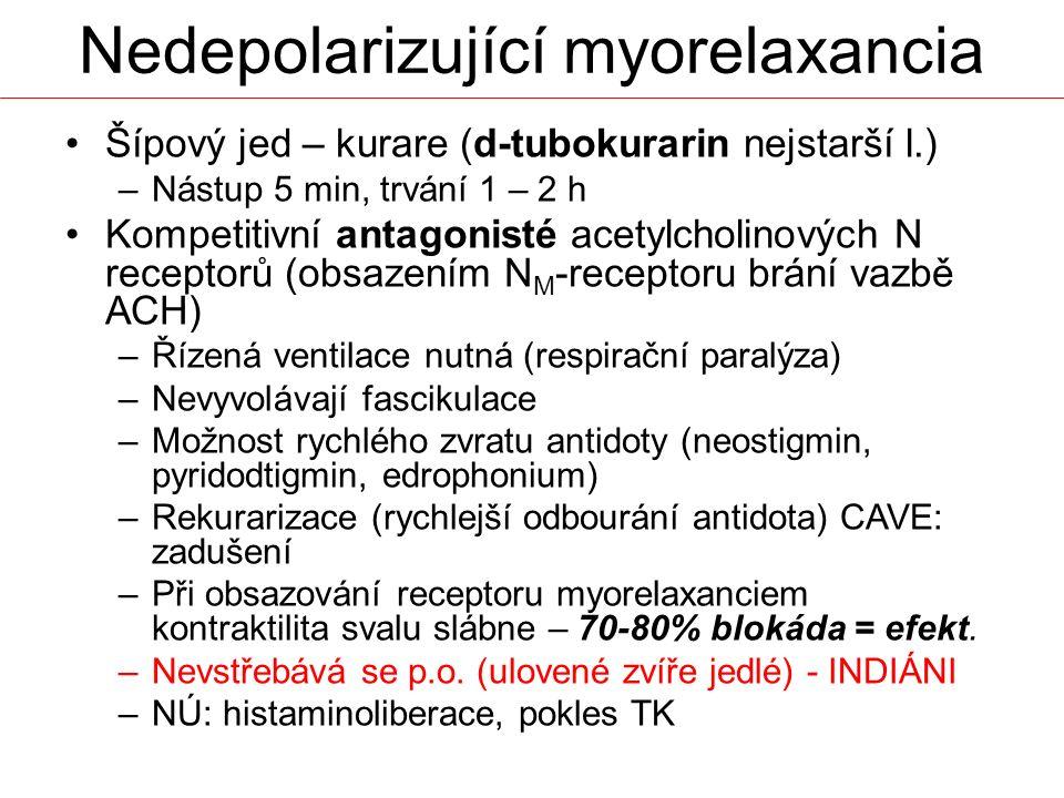 Nedepolarizující myorelaxancia Šípový jed – kurare (d-tubokurarin nejstarší l.) –Nástup 5 min, trvání 1 – 2 h Kompetitivní antagonisté acetylcholinový