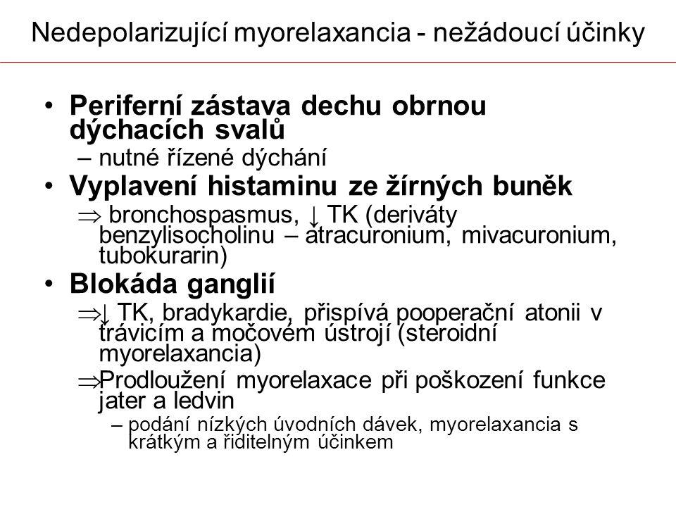 Nedepolarizující myorelaxancia - nežádoucí účinky Periferní zástava dechu obrnou dýchacích svalů –nutné řízené dýchání Vyplavení histaminu ze žírných