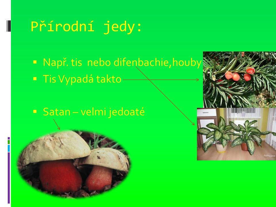 Přírodní jedy:  Např. tis nebo difenbachie,houby  Tis Vypadá takto  Satan – velmi jedoaté