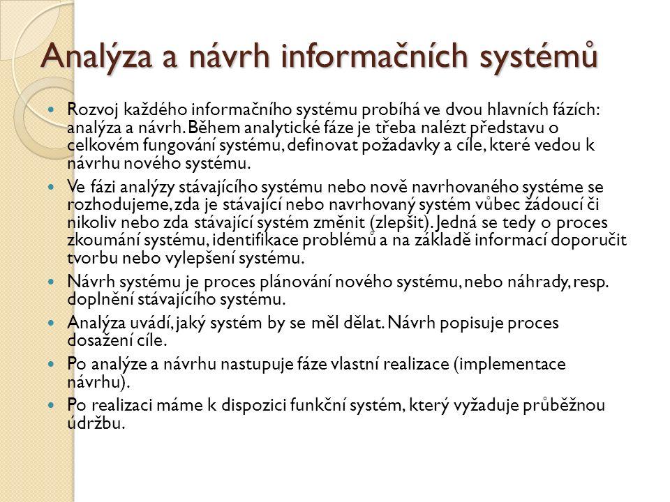 Analýza a návrh informačních systémů Rozvoj každého informačního systému probíhá ve dvou hlavních fázích: analýza a návrh. Během analytické fáze je tř