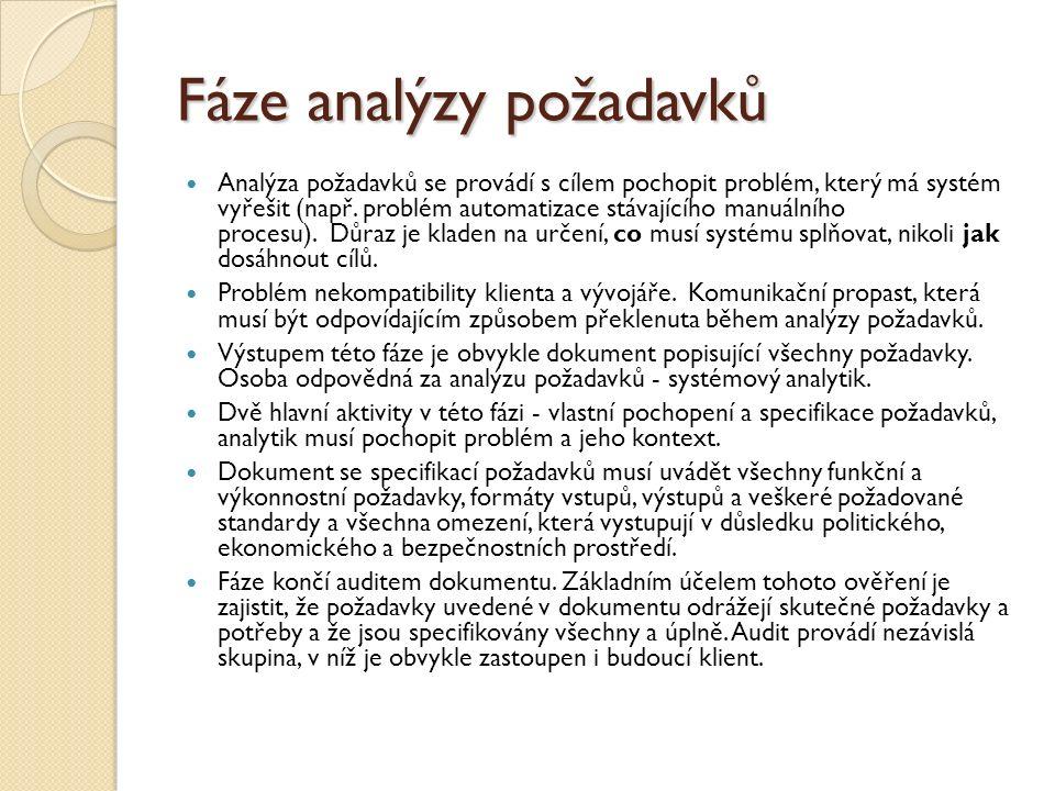 Fáze analýzy požadavků Analýza požadavků se provádí s cílem pochopit problém, který má systém vyřešit (např. problém automatizace stávajícího manuální