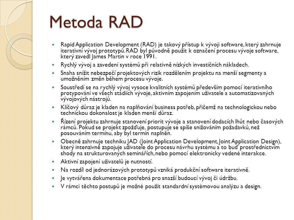 Metoda RAD Rapid Application Development (RAD) je takový přístup k vývoji software, který zahrnuje iterativní vývoj prototypů. RAD byl původně použit