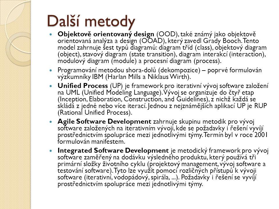 Další metody Objektově orientovaný design (OOD), také známý jako objektově orientovaná analýza a design (OOAD), který zavedl Grady Booch. Tento model