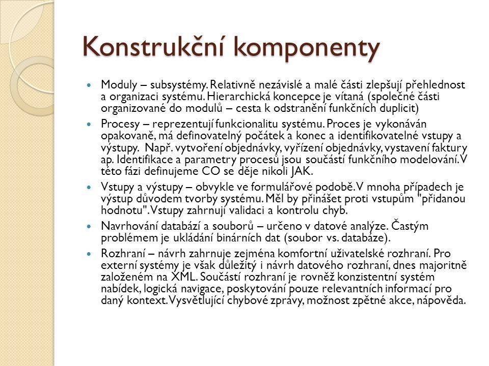 Konstrukční komponenty Moduly – subsystémy. Relativně nezávislé a malé části zlepšují přehlednost a organizaci systému. Hierarchická koncepce je vítan