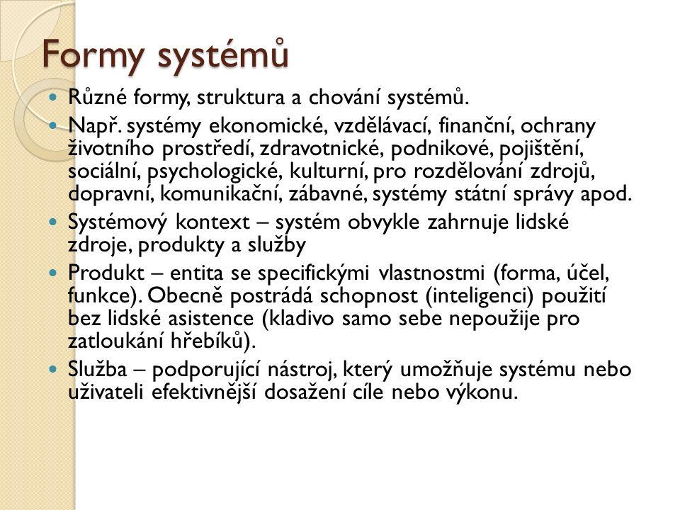 Formy systémů Různé formy, struktura a chování systémů. Např. systémy ekonomické, vzdělávací, finanční, ochrany životního prostředí, zdravotnické, pod