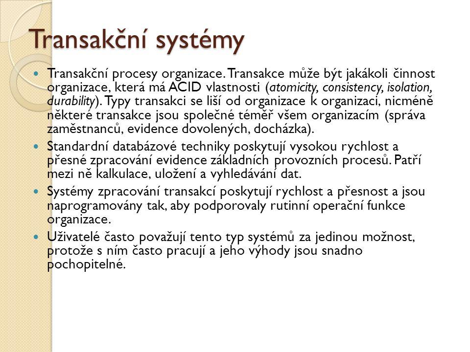 Transakční systémy Transakční procesy organizace. Transakce může být jakákoli činnost organizace, která má ACID vlastnosti (atomicity, consistency, is