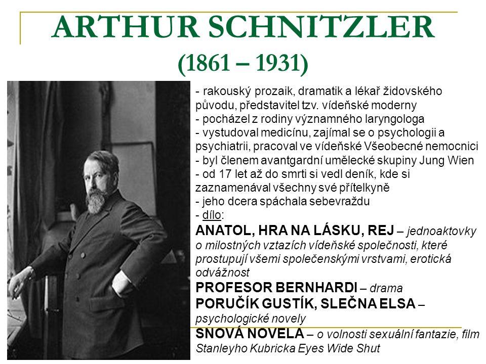 ARTHUR SCHNITZLER (1861 – 1931) - rakouský prozaik, dramatik a lékař židovského původu, představitel tzv.