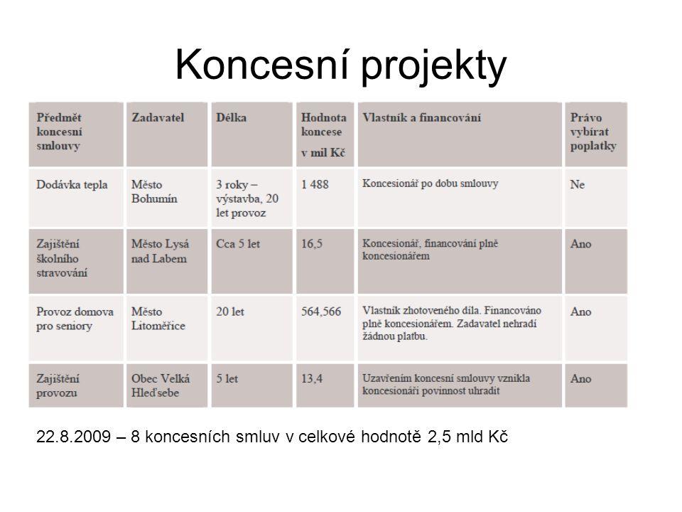 Koncesní projekty 22.8.2009 – 8 koncesních smluv v celkové hodnotě 2,5 mld Kč