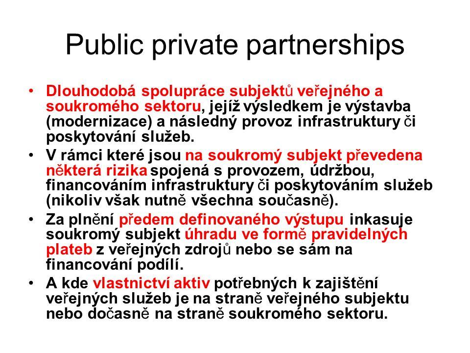 Public private partnerships Dlouhodobá spolupráce subjektů veřejného a soukromého sektoru, jejíž výsledkem je výstavba (modernizace) a následný provoz infrastruktury či poskytování služeb.
