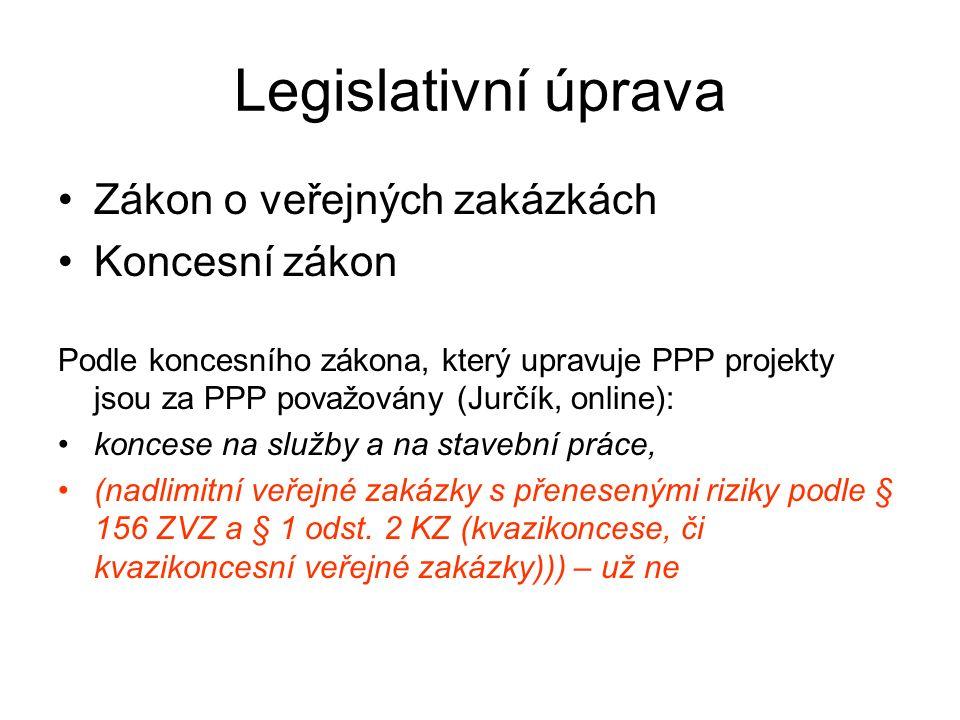 Legislativní úprava Zákon o veřejných zakázkách Koncesní zákon Podle koncesního zákona, který upravuje PPP projekty jsou za PPP považovány (Jurčík, online): koncese na služby a na stavební práce, (nadlimitní veřejné zakázky s přenesenými riziky podle § 156 ZVZ a § 1 odst.