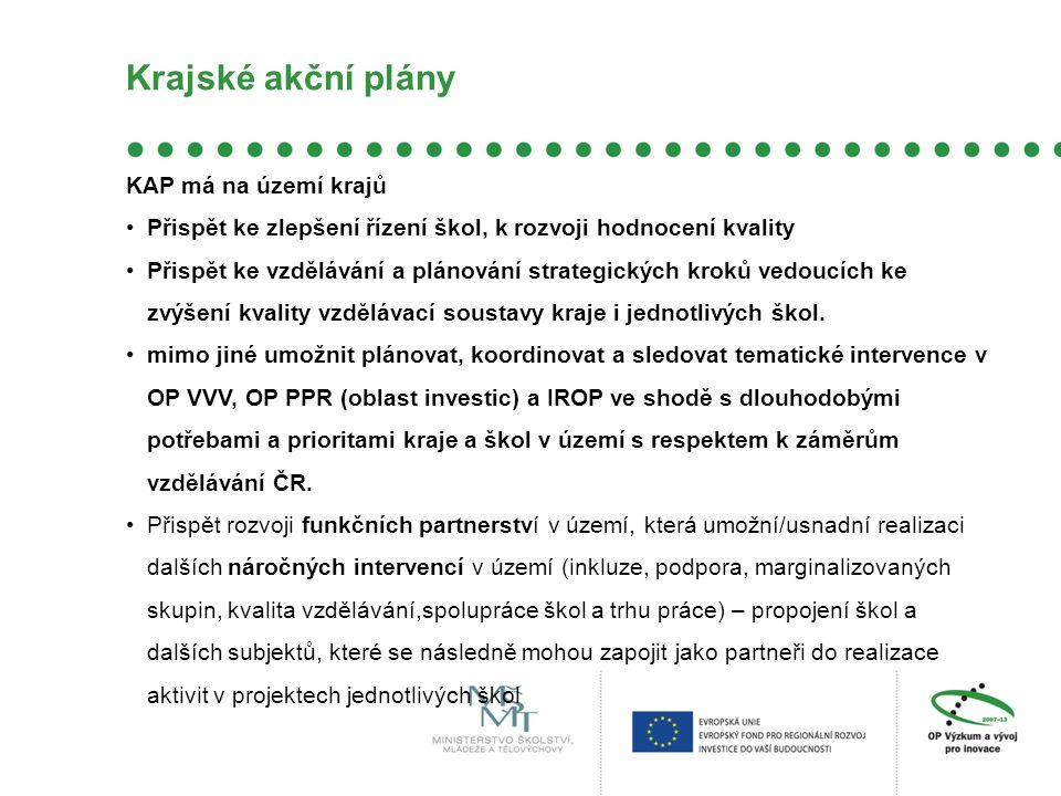 Krajské akční plány KAP má na území krajů Přispět ke zlepšení řízení škol, k rozvoji hodnocení kvality Přispět ke vzdělávání a plánování strategických