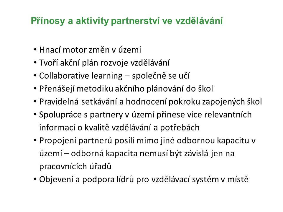 Přínosy a aktivity partnerství ve vzdělávání Hnací motor změn v území Tvoří akční plán rozvoje vzdělávání Collaborative learning – společně se učí Pře