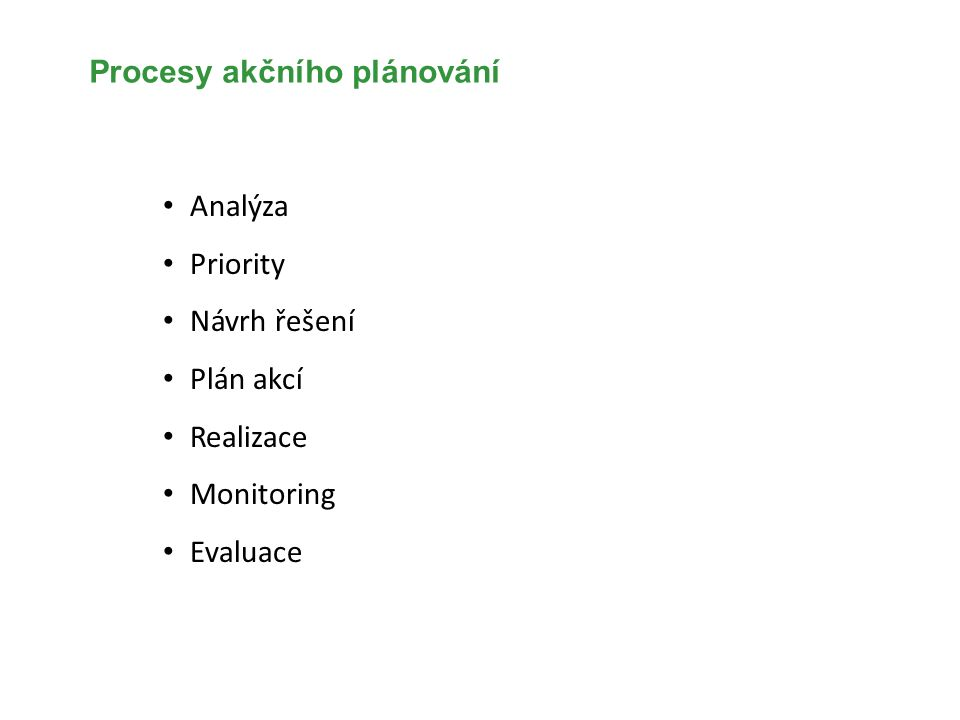 Procesy akčního plánování Analýza Priority Návrh řešení Plán akcí Realizace Monitoring Evaluace