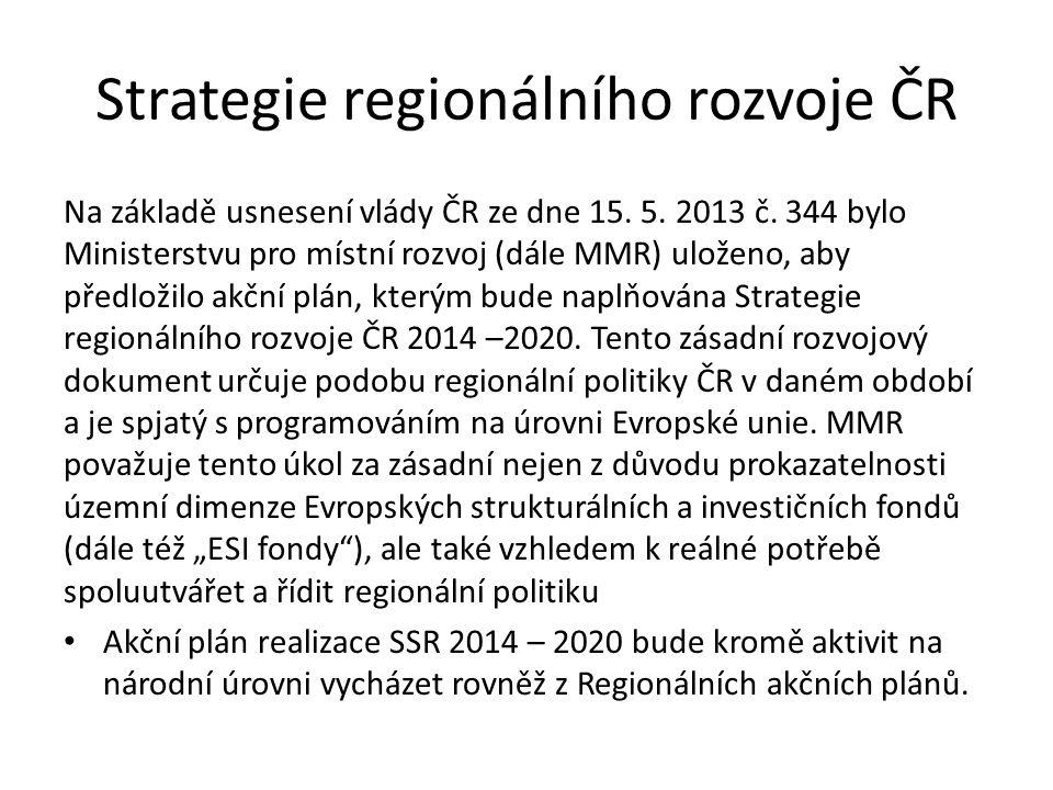 Strategie regionálního rozvoje ČR Na základě usnesení vlády ČR ze dne 15. 5. 2013 č. 344 bylo Ministerstvu pro místní rozvoj (dále MMR) uloženo, aby p