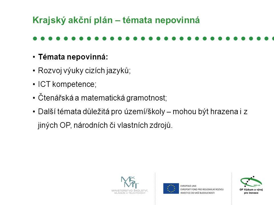 Krajský akční plán – témata nepovinná Témata nepovinná: Rozvoj výuky cizích jazyků; ICT kompetence; Čtenářská a matematická gramotnost; Další témata d