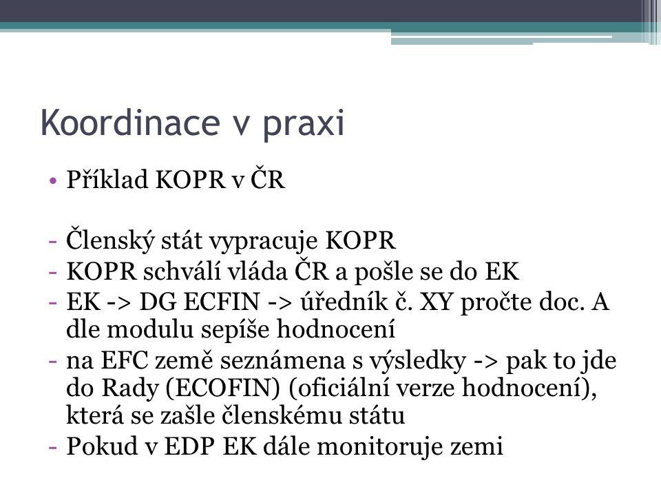 Koordinace v praxi Příklad KOPR v ČR -Členský stát vypracuje KOPR -KOPR schválí vláda ČR a pošle se do EK -EK -> DG ECFIN -> úředník č.