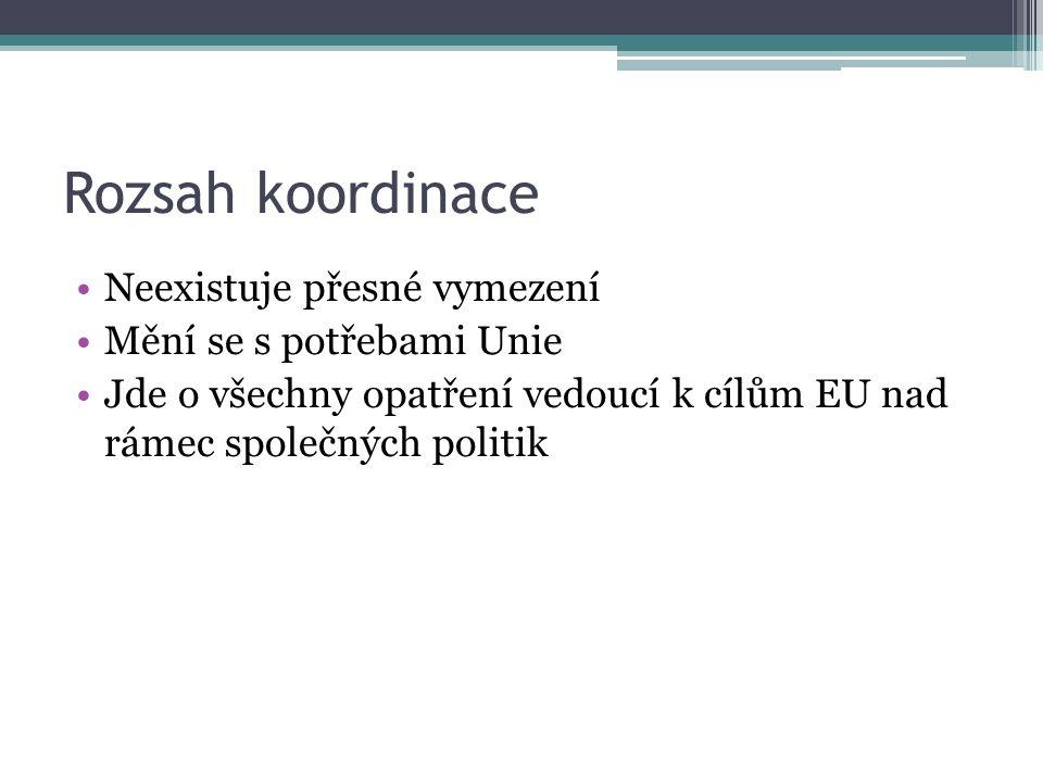 Rozsah koordinace Neexistuje přesné vymezení Mění se s potřebami Unie Jde o všechny opatření vedoucí k cílům EU nad rámec společných politik