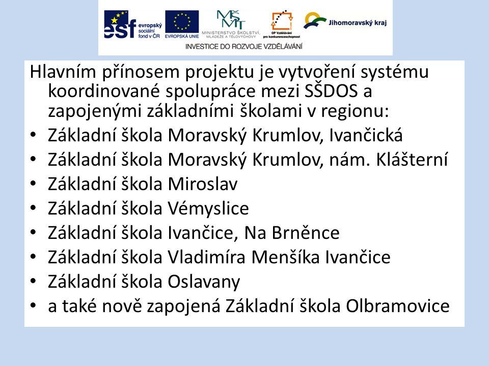 Hlavním přínosem projektu je vytvoření systému koordinované spolupráce mezi SŠDOS a zapojenými základními školami v regionu: Základní škola Moravský K