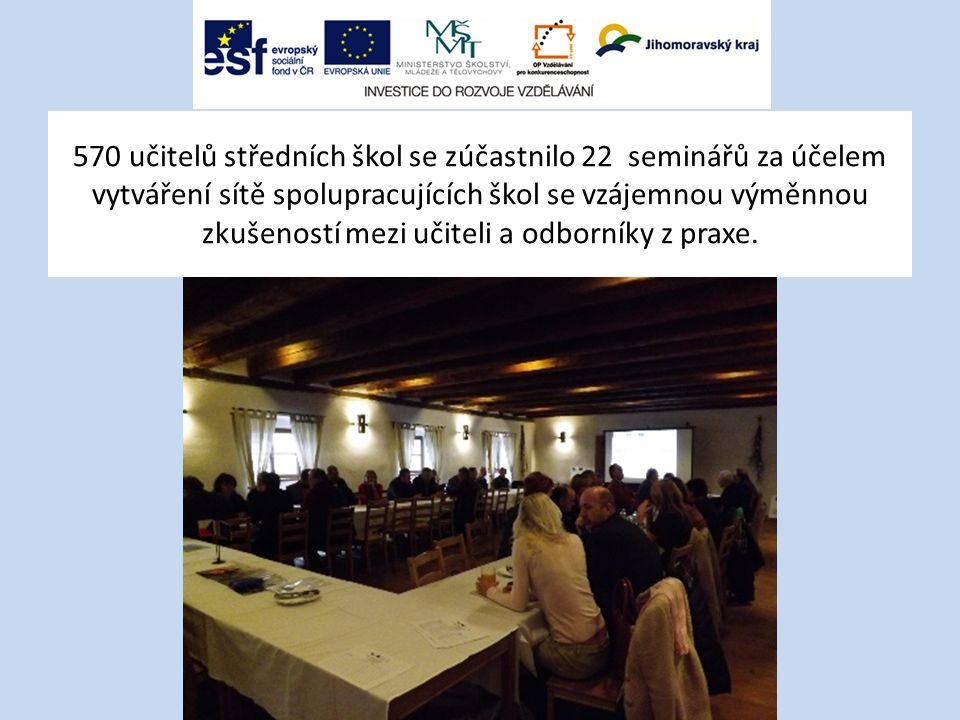 570 učitelů středních škol se zúčastnilo 22 seminářů za účelem vytváření sítě spolupracujících škol se vzájemnou výměnnou zkušeností mezi učiteli a od