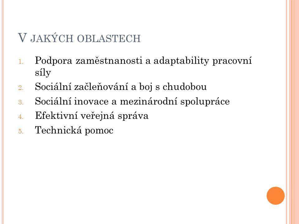 V JAKÝCH OBLASTECH 1. Podpora zaměstnanosti a adaptability pracovní síly 2.