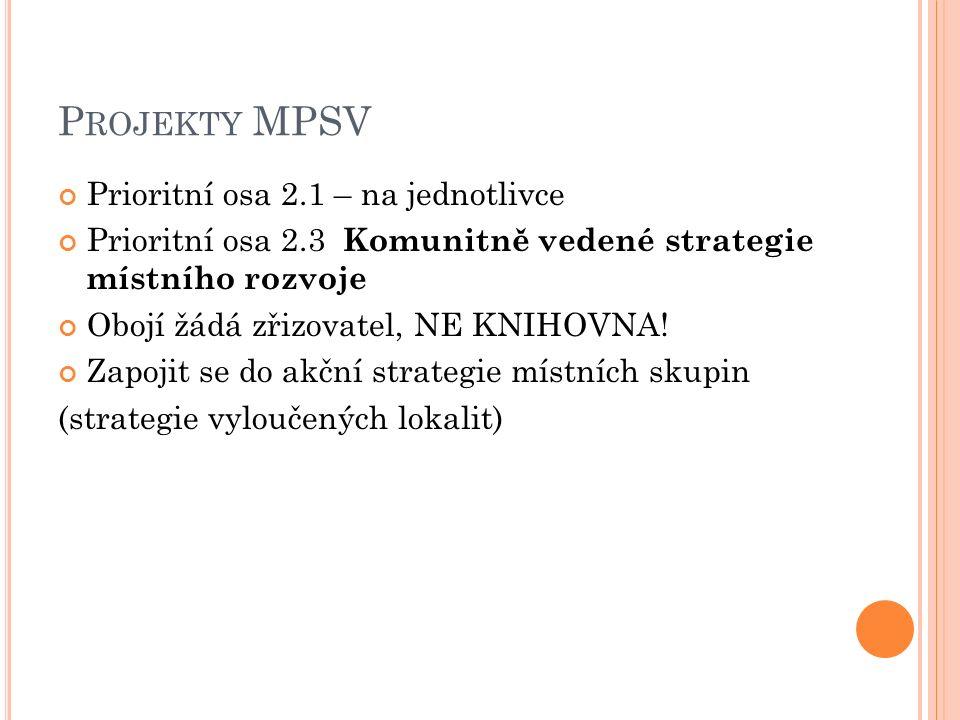 P ROJEKTY MPSV Prioritní osa 2.1 – na jednotlivce Prioritní osa 2.3 Komunitně vedené strategie místního rozvoje Obojí žádá zřizovatel, NE KNIHOVNA.