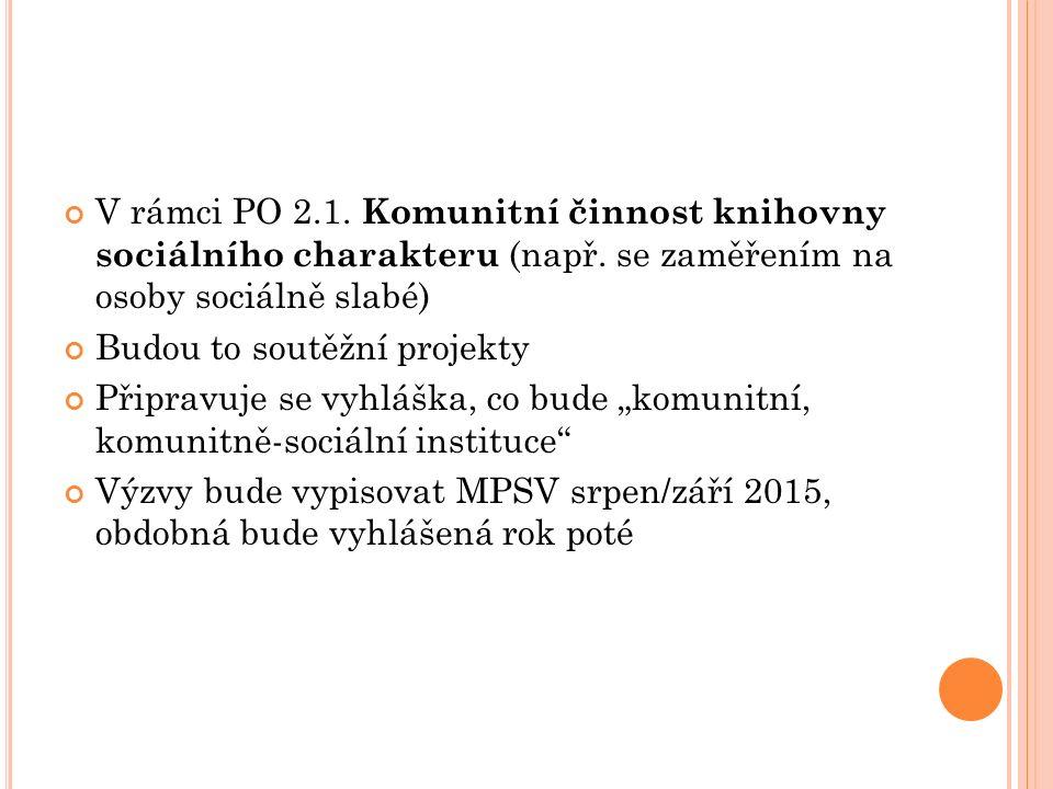 V rámci PO 2.1. Komunitní činnost knihovny sociálního charakteru (např.