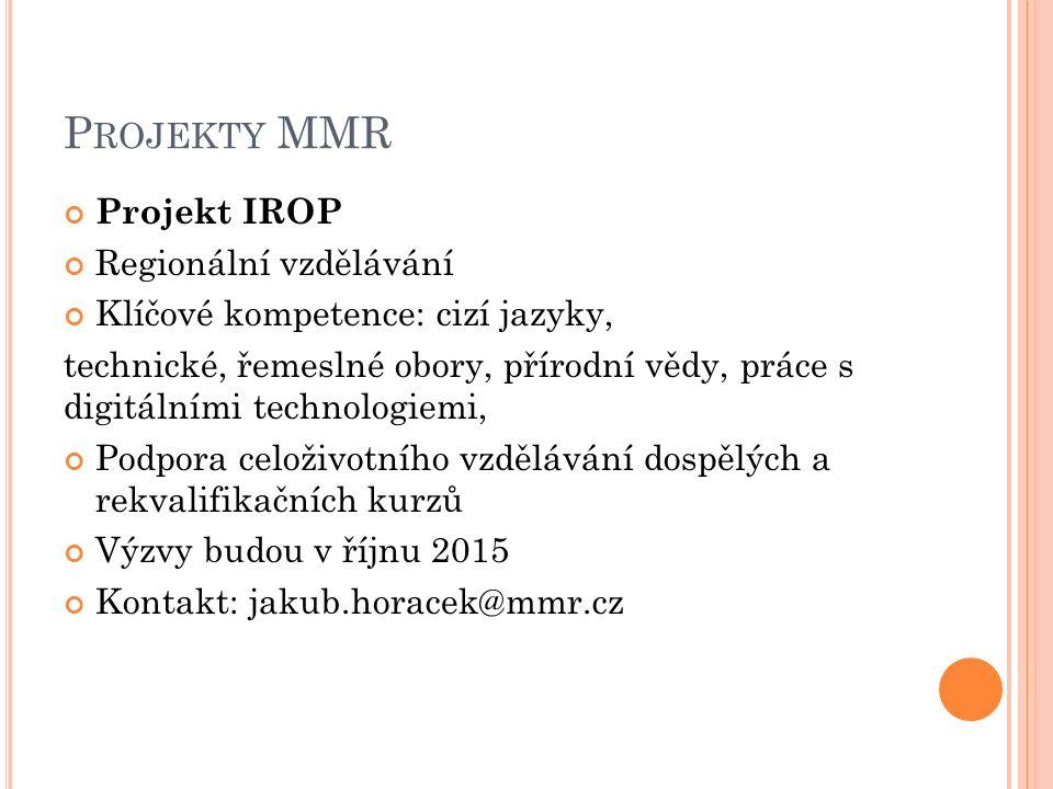 P ROJEKTY MMR Projekt IROP Regionální vzdělávání Klíčové kompetence: cizí jazyky, technické, řemeslné obory, přírodní vědy, práce s digitálními technologiemi, Podpora celoživotního vzdělávání dospělých a rekvalifikačních kurzů Výzvy budou v říjnu 2015 Kontakt: jakub.horacek@mmr.cz