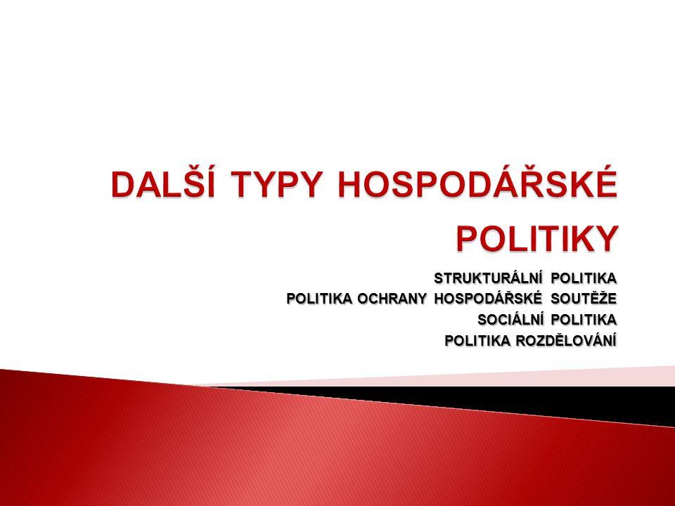 STRUKTURÁLNÍ POLITIKA POLITIKA OCHRANY HOSPODÁŘSKÉ SOUTĚŽE SOCIÁLNÍ POLITIKA POLITIKA ROZDĚLOVÁNÍ