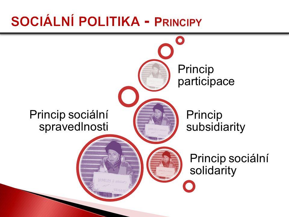 Princip sociální spravedlnosti Princip sociální solidarity Princip subsidiarity Princip participace
