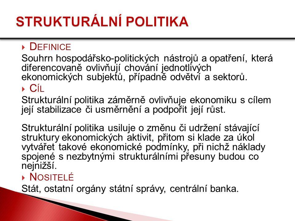  D EFINICE Souhrn hospodářsko-politických nástrojů a opatření, která diferencovaně ovlivňují chování jednotlivých ekonomických subjektů, případně odvětví a sektorů.