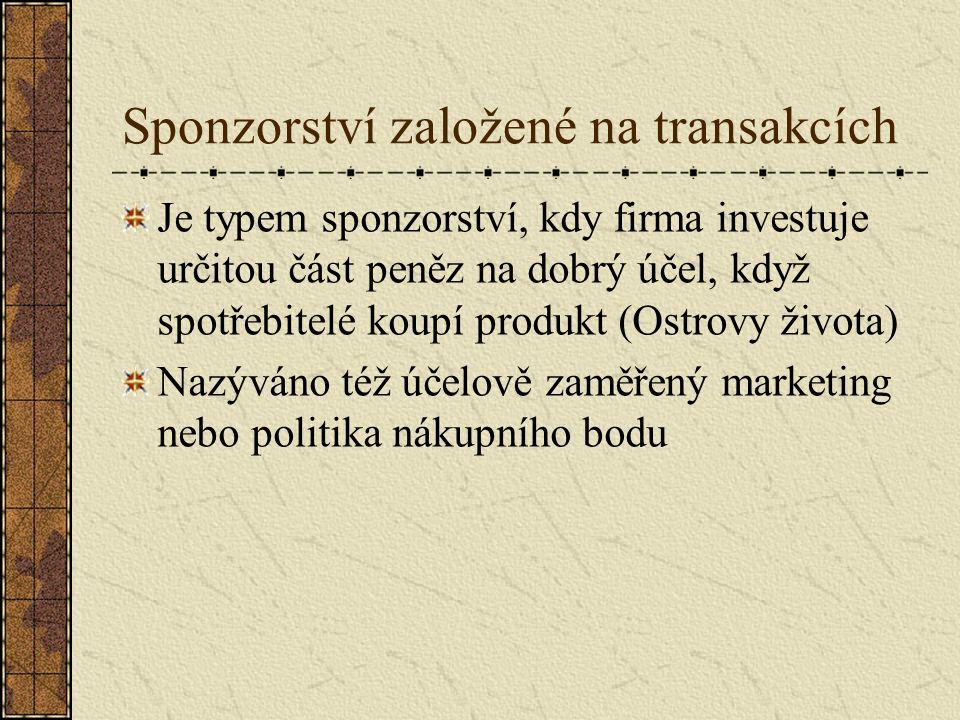 Sponzorství založené na transakcích Je typem sponzorství, kdy firma investuje určitou část peněz na dobrý účel, když spotřebitelé koupí produkt (Ostro