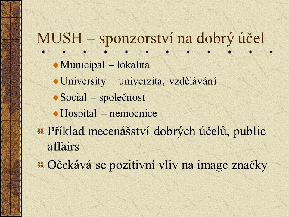 MUSH – sponzorství na dobrý účel Municipal – lokalita University – univerzita, vzdělávání Social – společnost Hospital – nemocnice Příklad mecenášství