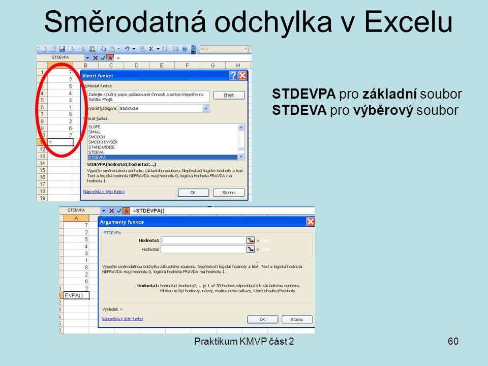 Praktikum KMVP část 260 Směrodatná odchylka v Excelu STDEVPA pro základní soubor STDEVA pro výběrový soubor