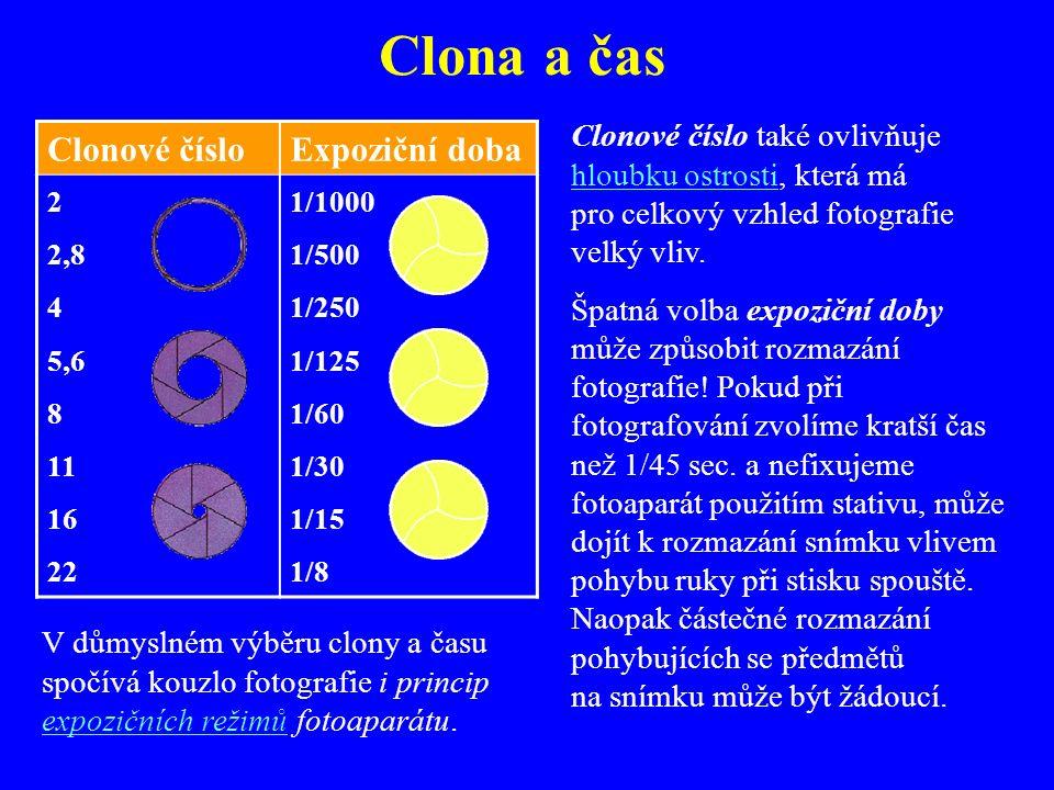 Expoziční hodnoty: clona a čas Clona (clonové číslo) a čas (expoziční doba) společně zajišťují, aby na film či snímač CCD dopadlo optimální množství s