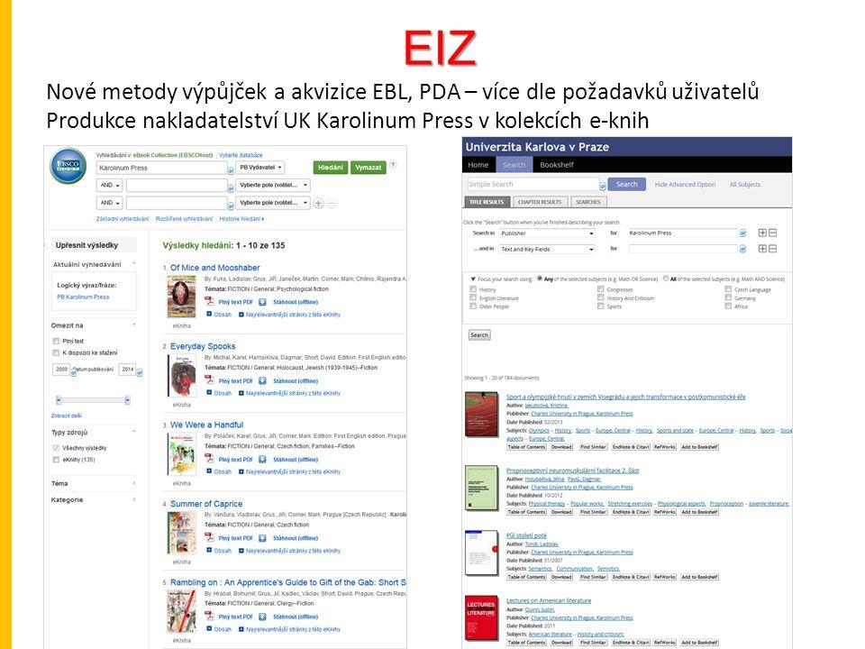 EIZ Nové metody výpůjček a akvizice EBL, PDA – více dle požadavků uživatelů Produkce nakladatelství UK Karolinum Press v kolekcích e-knih
