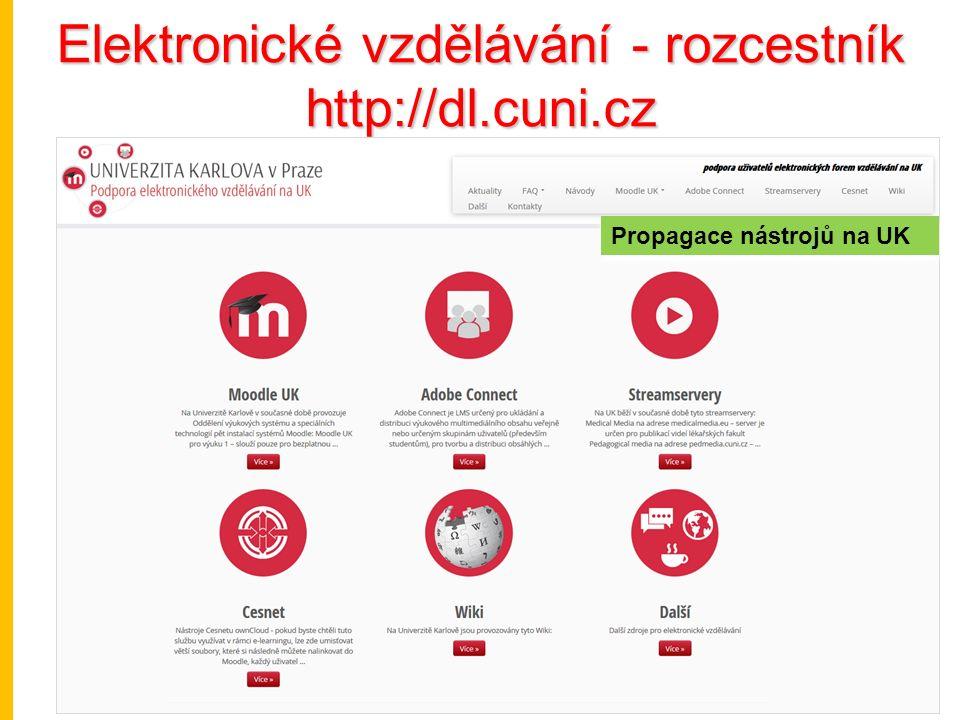 Elektronické vzdělávání - rozcestník http://dl.cuni.cz Propagace nástrojů na UK