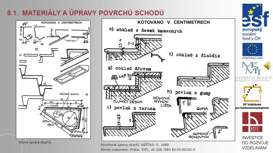 8.1. MATERIÁLY A ÚPRAVY POVRCHŮ SCHODŮ Rameno schodiště je sestaveno buď z jednotlivých stupňů spojených na sedlo a drážku nebo je vybetonováno vcelku