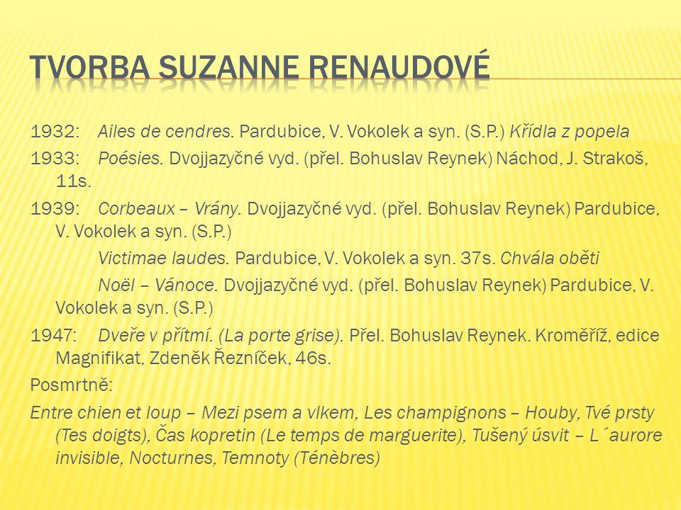 1932: Ailes de cendres. Pardubice, V. Vokolek a syn.