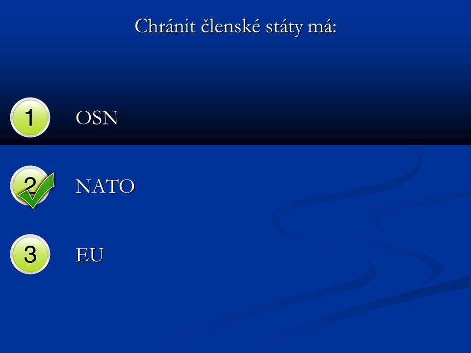 Chránit členské státy má: OSN NATO EU