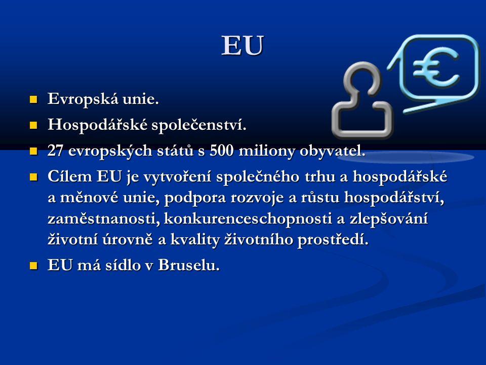 EU Evropská unie. Evropská unie. Hospodářské společenství.