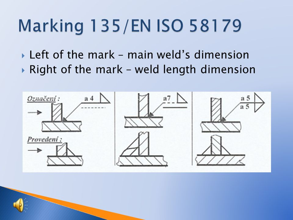  Left of the mark – main weld's dimension  Right of the mark – weld length dimension