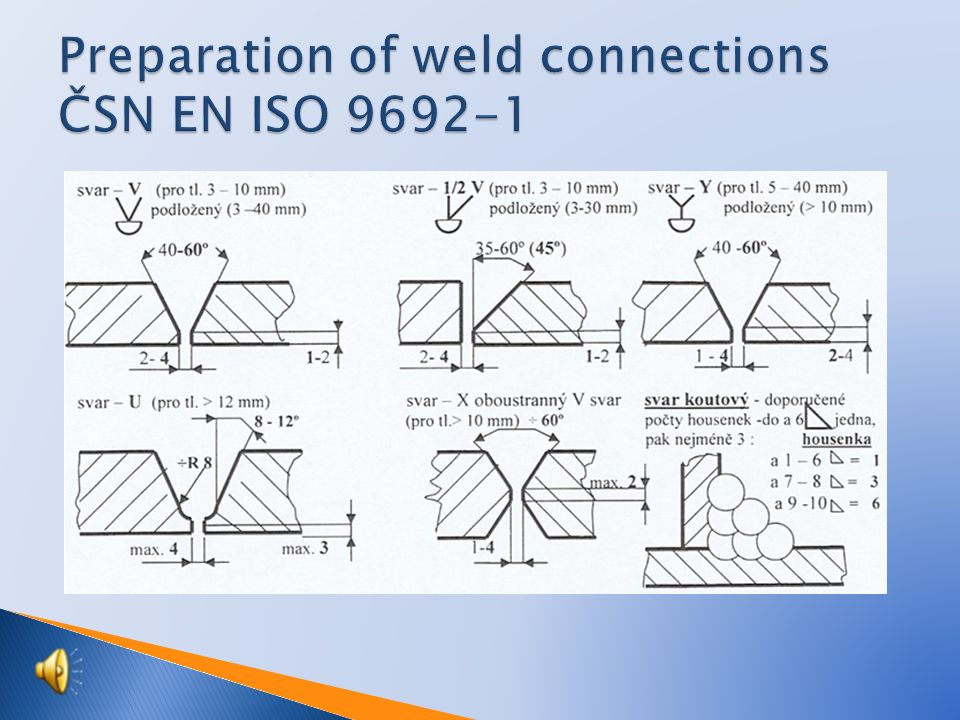  Example: ◦ a4 ⊿40 x 50 (500)  a = weld thickness  4 = weld size (4 mm)  ⊿ = marking  40 = number of welds (seams)  50 = length of welds (50 mm)