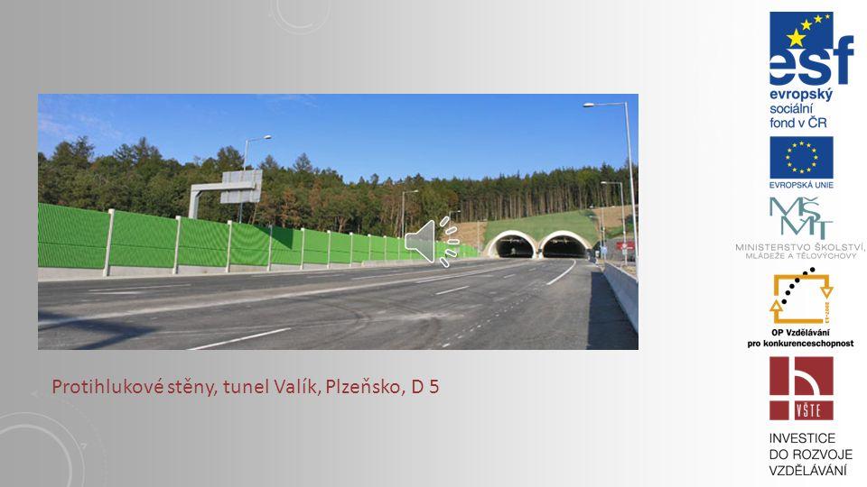 Protihlukové stěny, tunel Valík, Plzeňsko, D 5