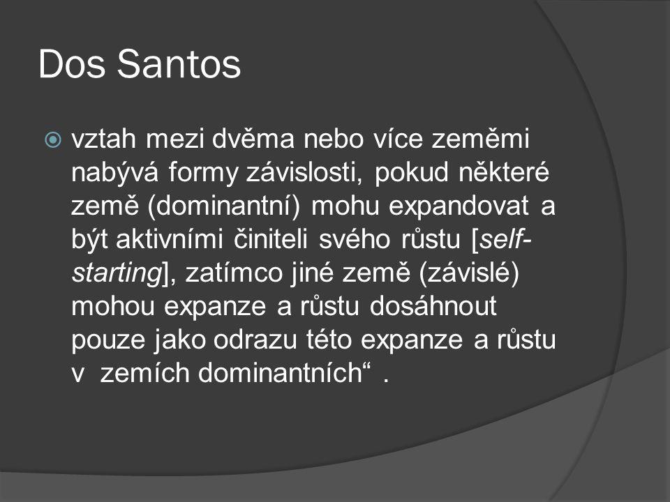 Dos Santos  vztah mezi dvěma nebo více zeměmi nabývá formy závislosti, pokud některé země (dominantní) mohu expandovat a být aktivními činiteli svého růstu [self- starting], zatímco jiné země (závislé) mohou expanze a růstu dosáhnout pouze jako odrazu této expanze a růstu v zemích dominantních .