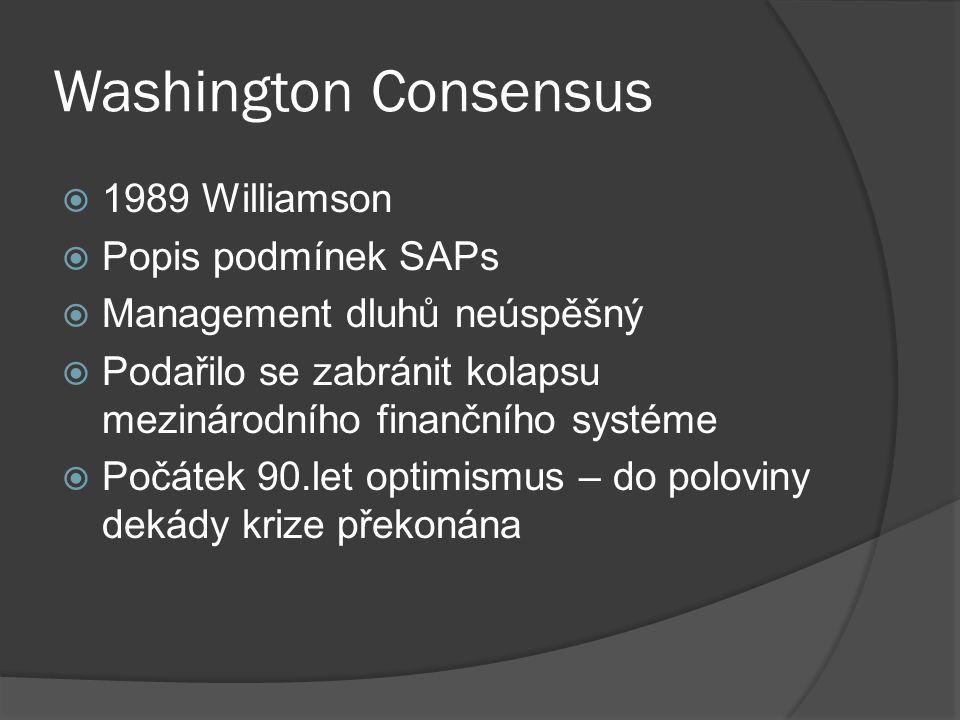 Washington Consensus  1989 Williamson  Popis podmínek SAPs  Management dluhů neúspěšný  Podařilo se zabránit kolapsu mezinárodního finančního systéme  Počátek 90.let optimismus – do poloviny dekády krize překonána